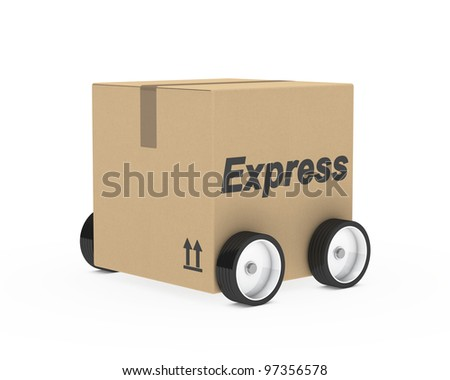 brown package car figure on withe background - stock photo