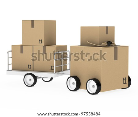 brown package figure car with a trailer