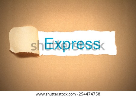 brown package paper torn to reveal express - stock photo