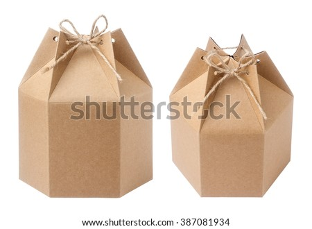 Brown packaging paper box isolated on white - stock photo