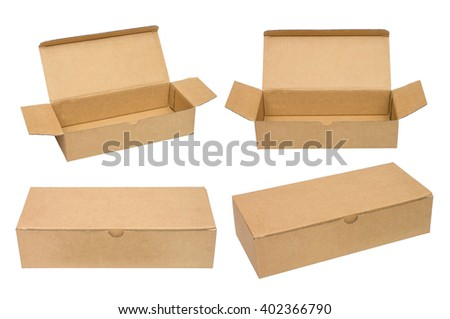 Brown packing cardboard boxes. Isolated on the white background. Different views. No shadow. - stock photo