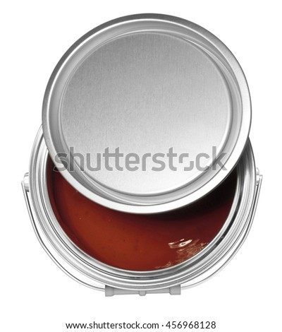 Brown paint can and cover, isolated on white background