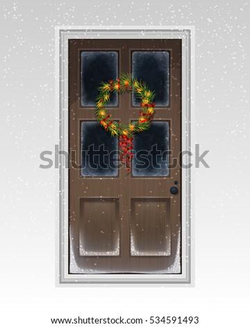 Brownpainted Front Door Decorated Lighting Snowflakes Stock