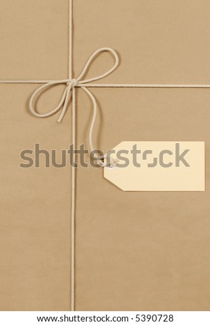 Brown paper background, label, package