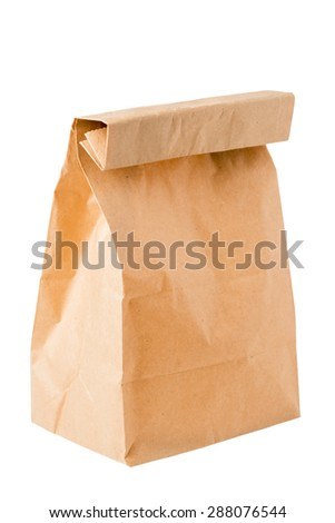 brown paper bag for packing lunch on a white background