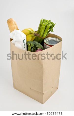 Brown paper bag full of groceries