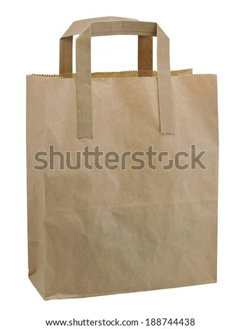 Brown paper bag isolated against a white background, often used at takeaways or grocery shops - stock photo