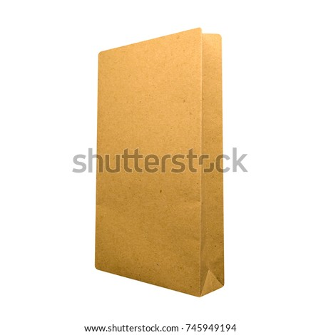 brown paper bag isolated on white background. side view
