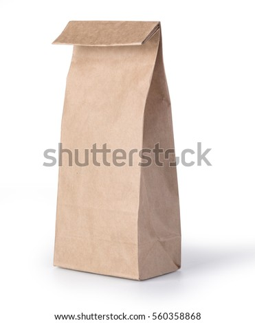 brown paper bag isolated on white background with clipping path