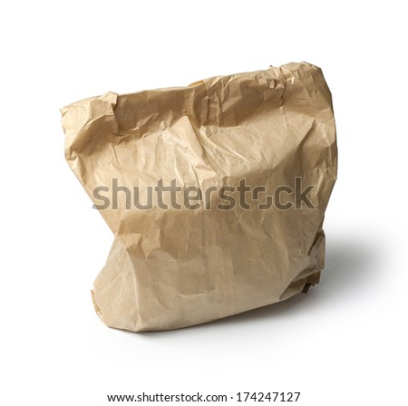 Brown paper bag isolated on white. with clipping path