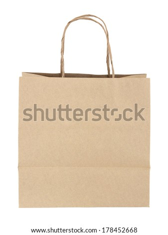 Brown paper bag isolated on white with clipping path - stock photo