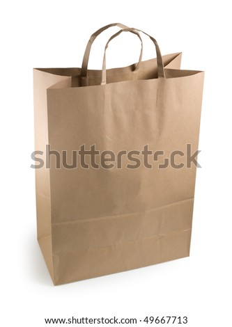 brown paper bag on a white background. Isolated path included.