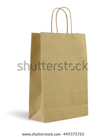 Brown paper bag on white background.