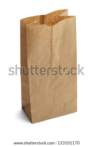 Brown Paper Bag Opened and Isolated on a White Background.
