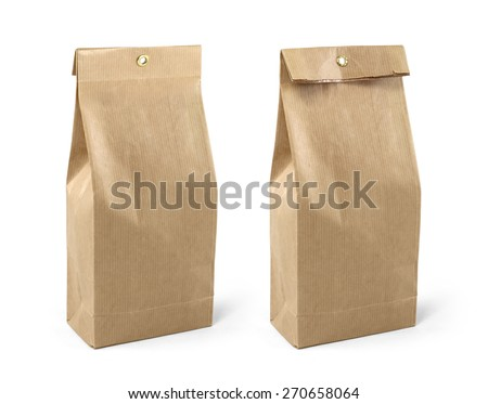 Brown paper bag packaging template isolated on white background - stock photo