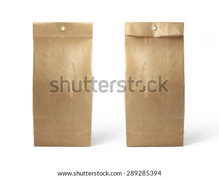 Brown paper bag packaging template isolated on white background. Front and back view - stock photo