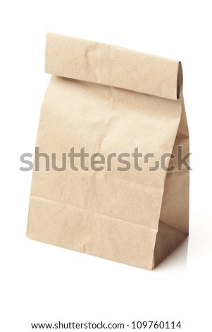 Brown Paper Bag Sack Lunch on a background - stock photo