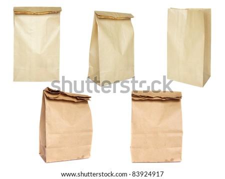 Brown paper bag set - stock photo