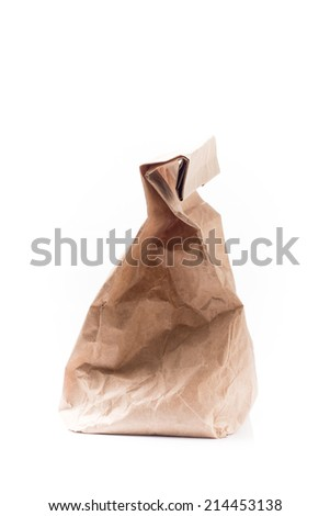 Brown Paper Bag  with Copy Space Isolated on White Background.