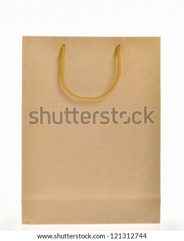 brown paper bag with handle - stock photo