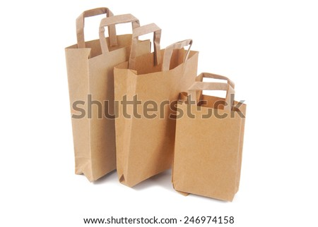 brown paper bags isolated on white - stock photo