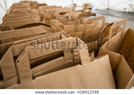brown paper bags prepared for shopping - stock photo