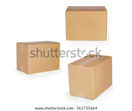 Brown paper box isolated on white background. This has clipping path.