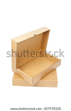 Brown paper box open Cardboard boxes stacked on another.on white isolated background.