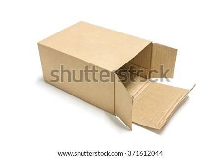 Brown paper box opened isolated on white background