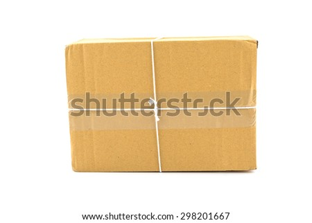 brown paper box  tied with white string ready to send isolated on white background