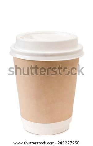 Brown paper cup for coffee - stock photo
