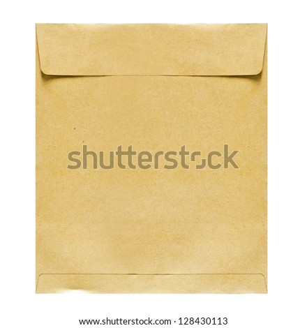 Brown paper envelope on white background