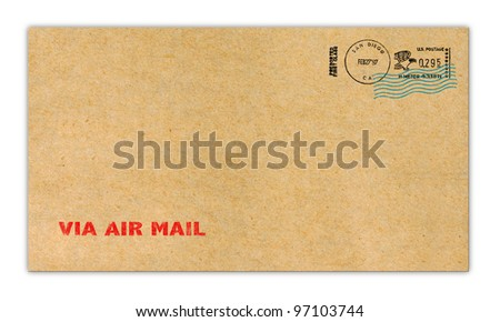Brown paper Envelope with postage stamp. - stock photo