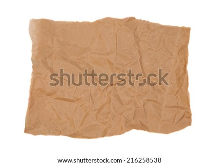 Brown paper on white