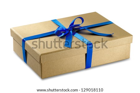 brown paper parcel with blue ribbon isolated on white with clipping path - stock photo