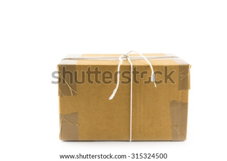 Brown paper parcels box already to shipped  isolated on white background - stock photo