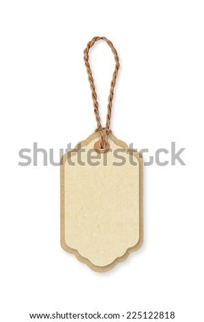 Brown paper price tags with brown rope. Recycled paper. background and texture. - stock photo