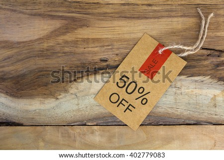 brown paper sale promotion price tag on wood