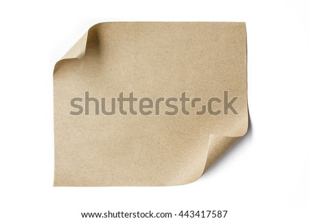 brown paper sheet roll up top right corner isolated on white background