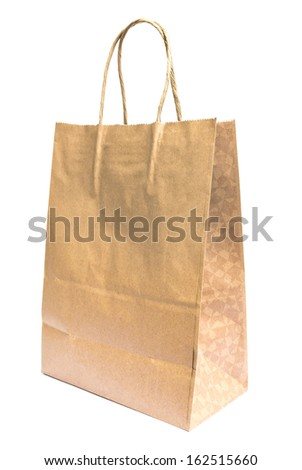 Brown paper shopping bag on white
