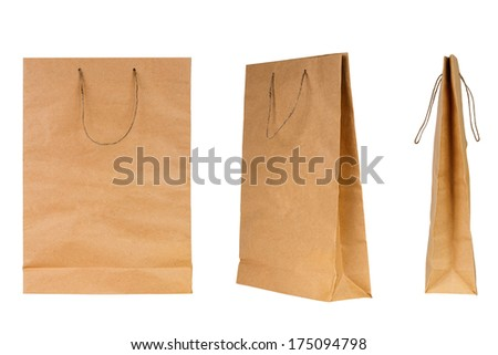 Brown paper shopping bag set isolated on white background - stock photo