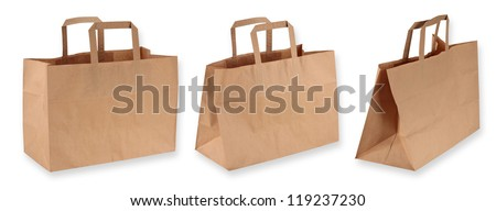 Brown paper shopping bags isolated on white background - stock photo