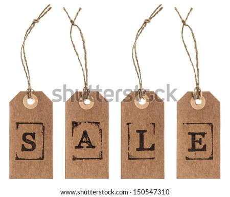 brown paper tag with string isolated on white background. SALE concept - stock photo