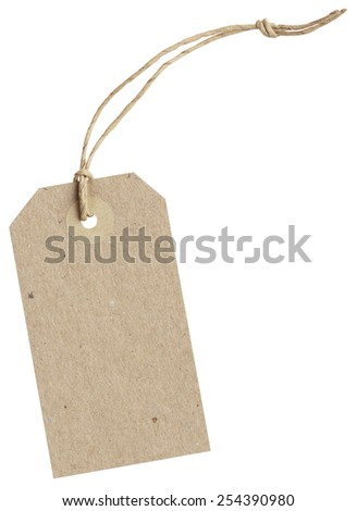 brown paper tag with string isolated on white background with clipping paths - stock photo