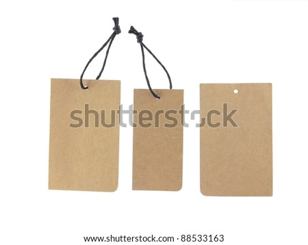 brown paper tags Isolated On White Background.