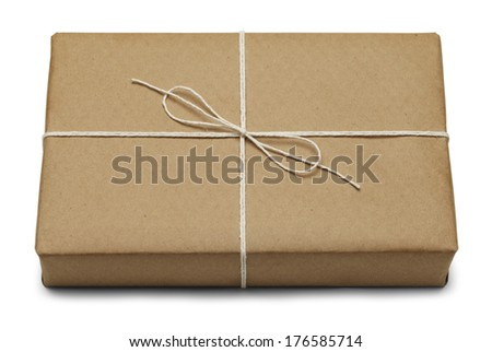 Brown Parcel With Thin Tied Rope Isolated On White Background. - stock photo