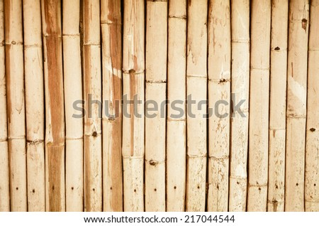 Brown pattern of old bamboo wall