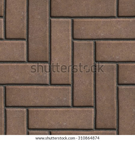 Brown Paving Slabs as Parquet. Seamless Tileable Texture.