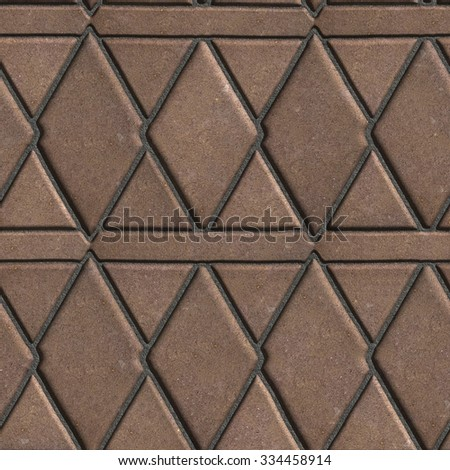 Brown Paving Slabs Built of Rhombuses and Rectangles. Seamless Tileable Texture.