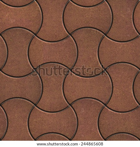 Brown Paving Slabs in the Streamlined Form. Seamless Tileable Texture. - stock photo